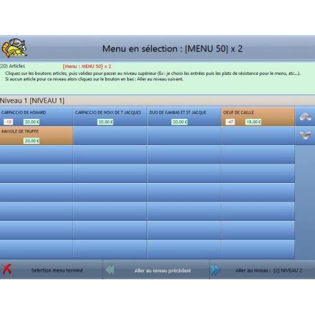 Gestion des menus avec le logiciel de caisse DYNARESTO CS -