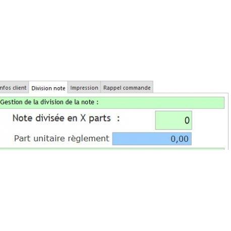 Divisio de notes avec le logiciel de caisse DYNARESTO CS