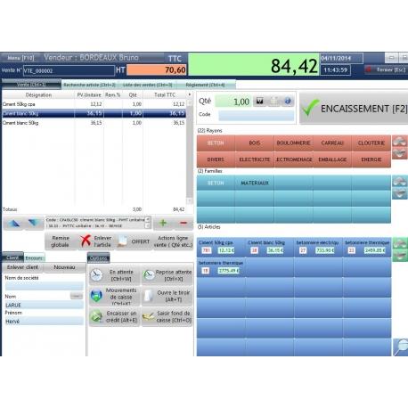 Encaissement tactile, fichier client, multi vendeurs, mise en attente des ventes,vente à crédit etc.