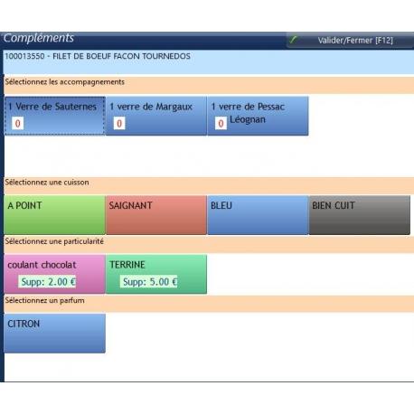 Gestion des accompagnements du logiciel de caisse DYNARESTO CS